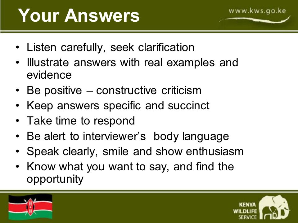 Your Answers Listen carefully, seek clarification