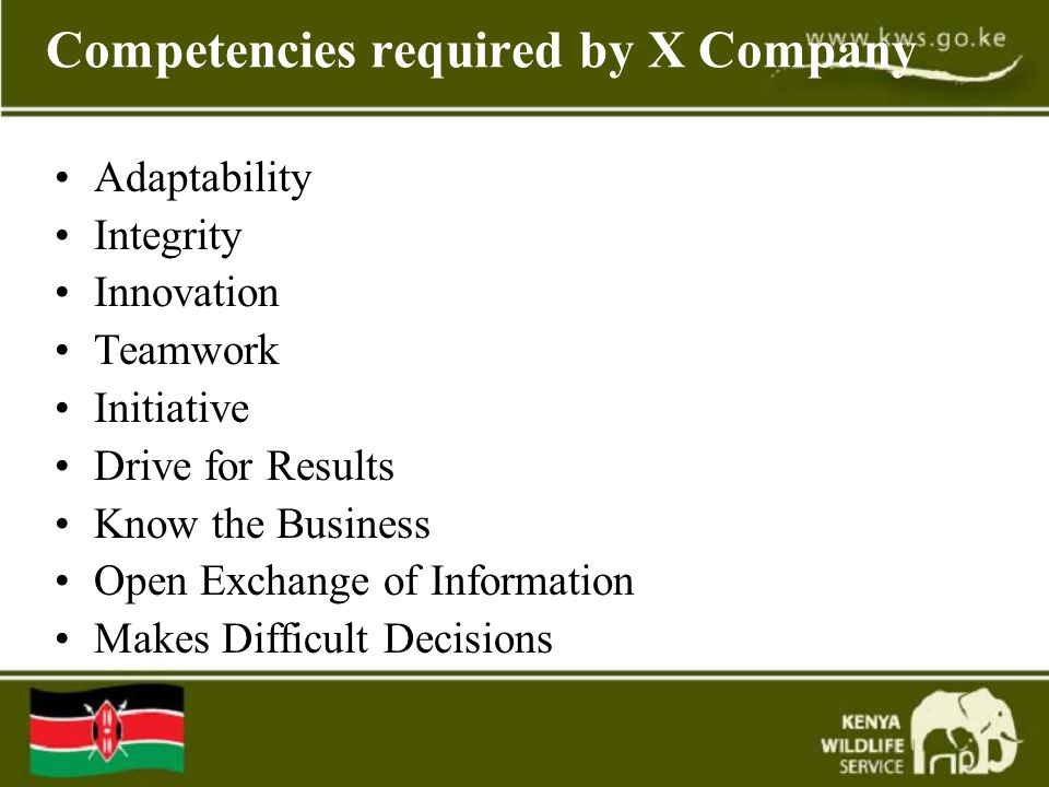 Competencies required by X Company