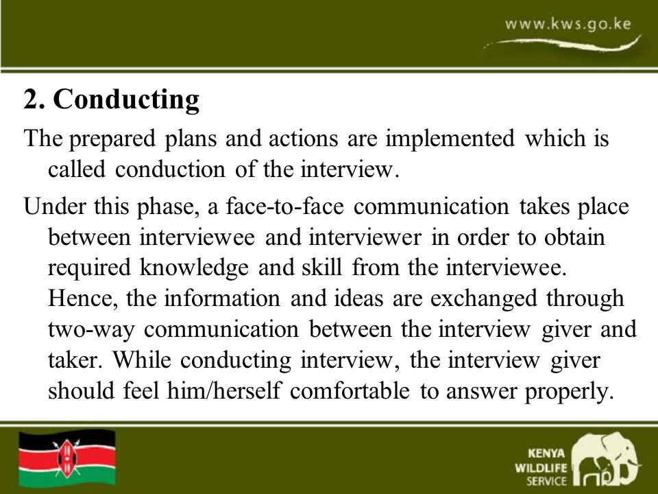 2. Conducting The prepared plans and actions are implemented which is called conduction of the interview.