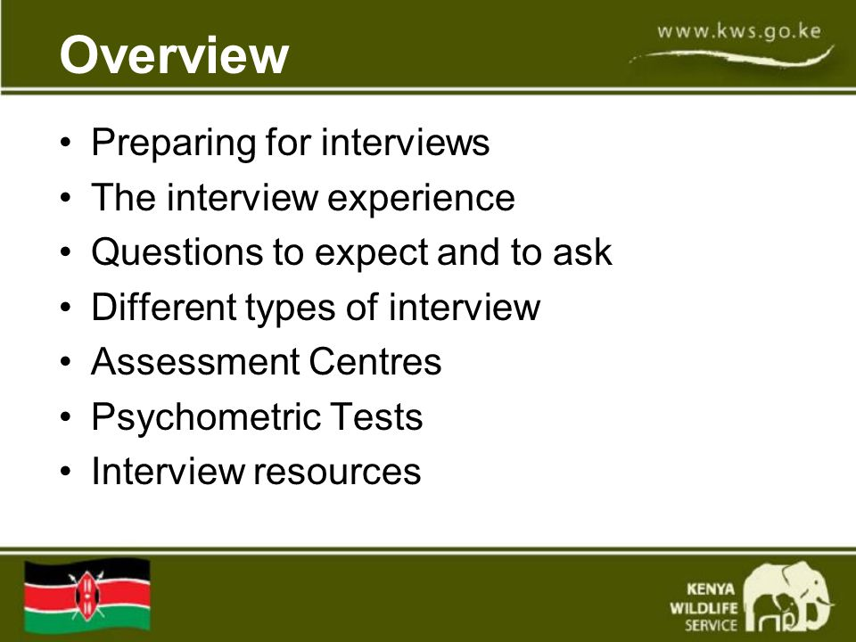 Overview Preparing for interviews The interview experience