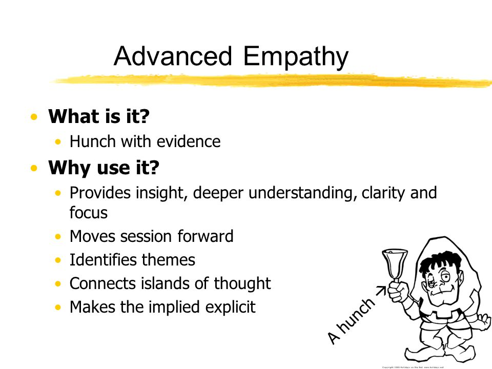 Advanced Empathy What is it Why use it Hunch with evidence