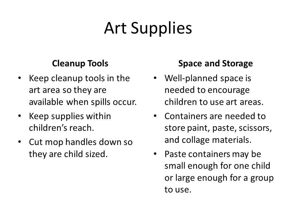 Art Supplies Cleanup Tools Space and Storage
