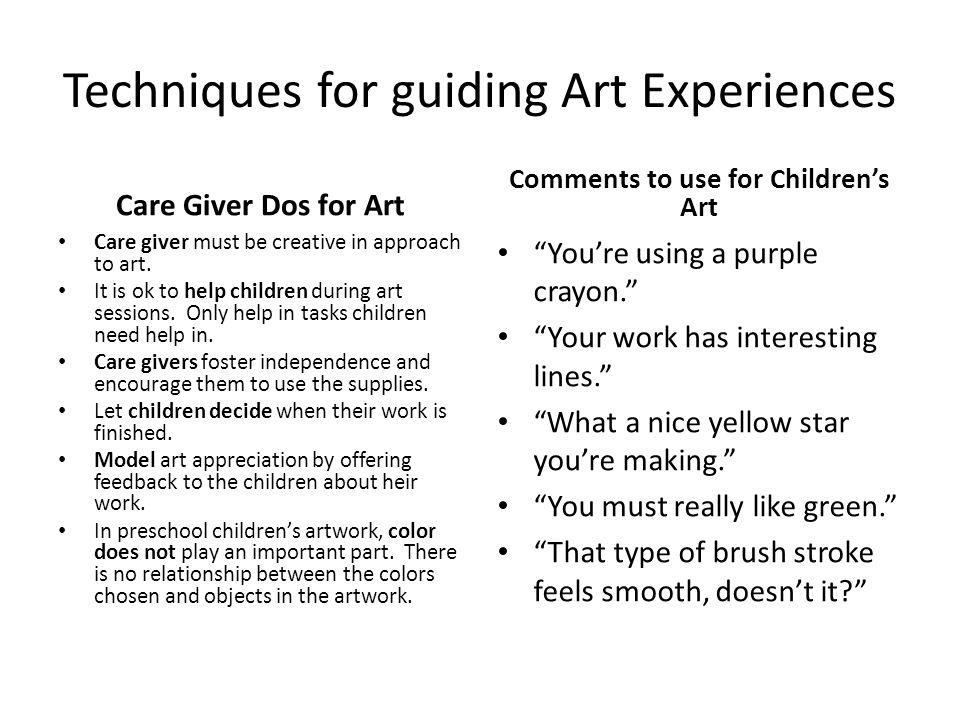 Techniques for guiding Art Experiences