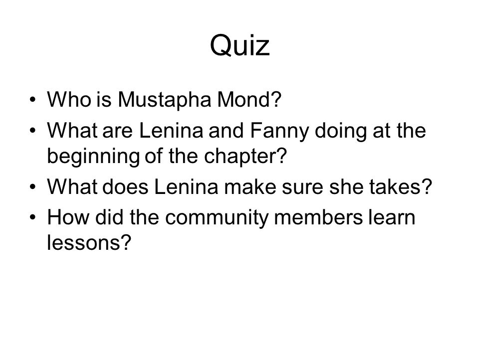 Quiz Who is Mustapha Mond