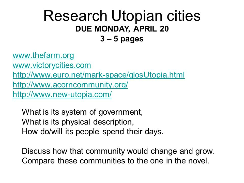 Research Utopian cities