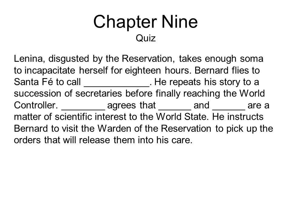 Chapter Nine Quiz