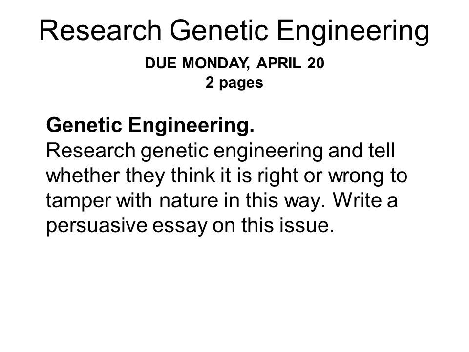 Research Genetic Engineering