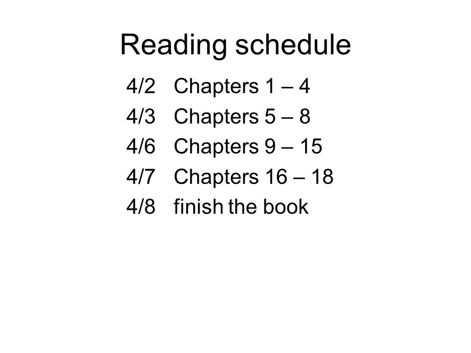 Reading schedule 4/2 Chapters 1 – 4 4/3 Chapters 5 – 8