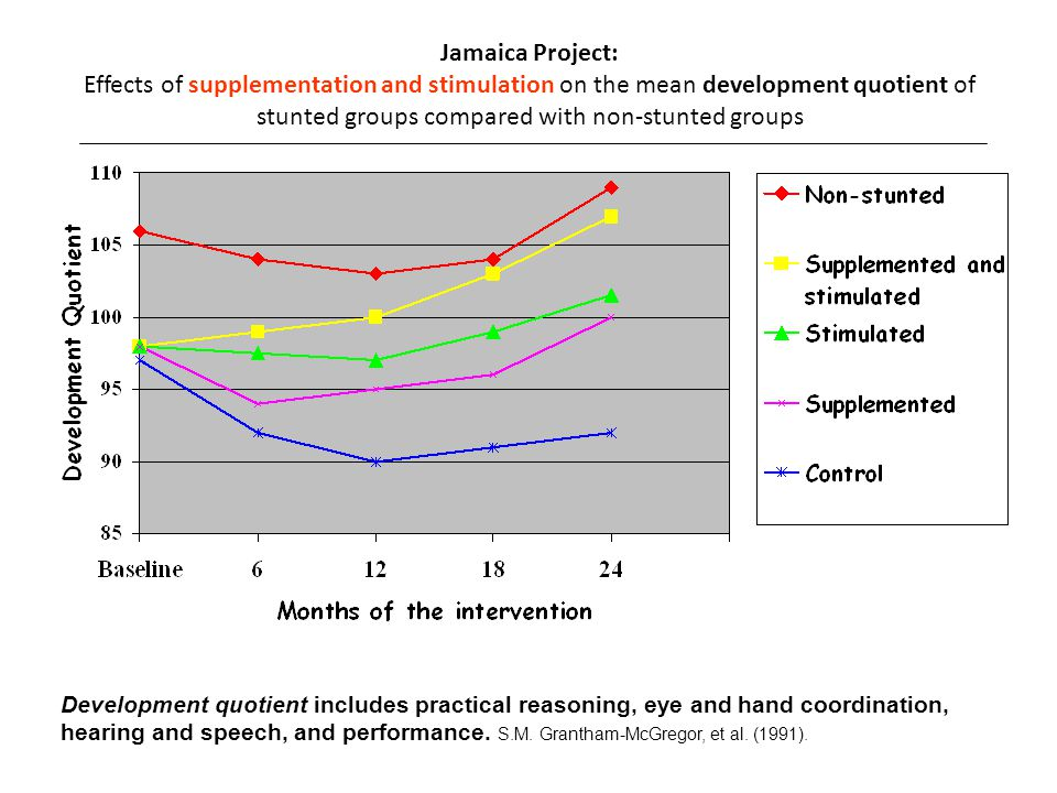 Jamaica Project: Effects of supplementation and stimulation on the mean development quotient of stunted groups compared with non-stunted groups