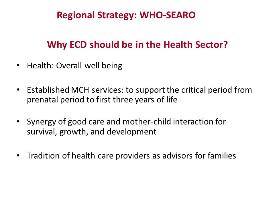 Why ECD should be in the Health Sector
