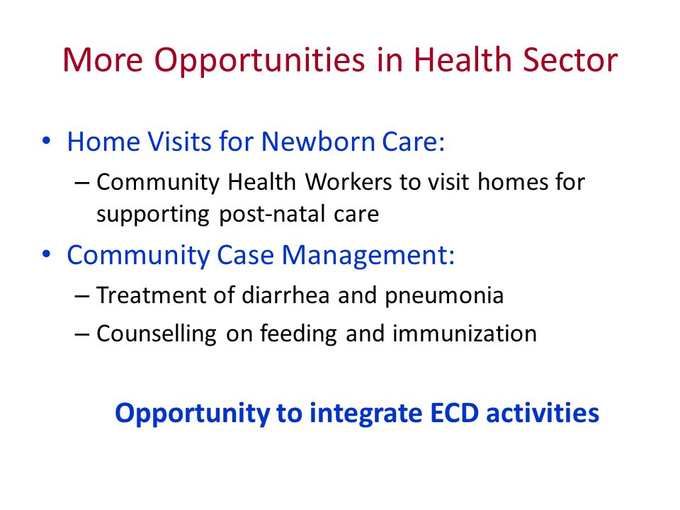 More Opportunities in Health Sector