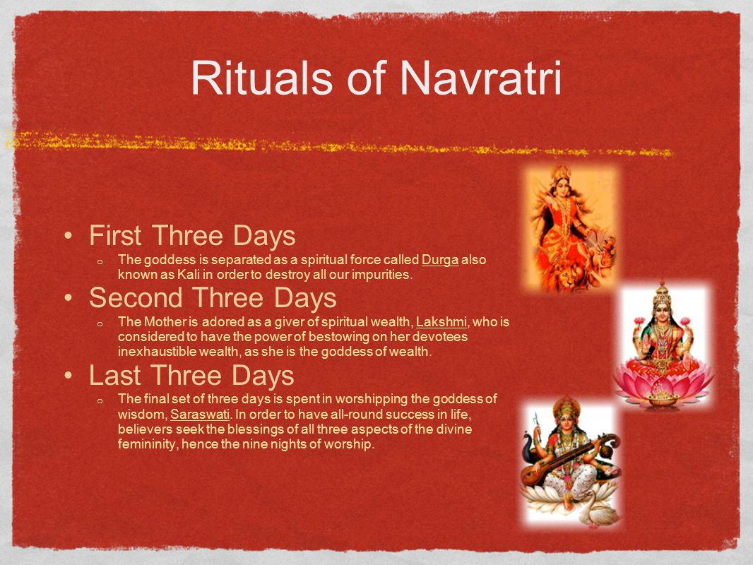 Rituals of Navratri First Three Days Second Three Days Last Three Days