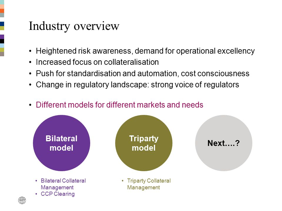 Industry overview Heightened risk awareness, demand for operational excellency. Increased focus on collateralisation.