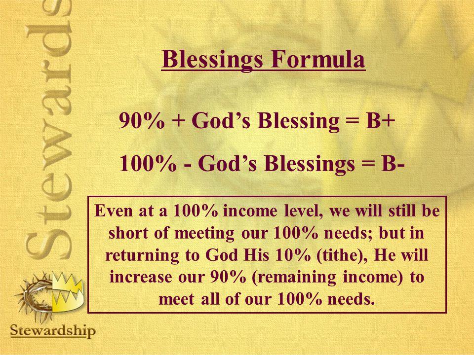 Blessings Formula 90% + God's Blessing = B+