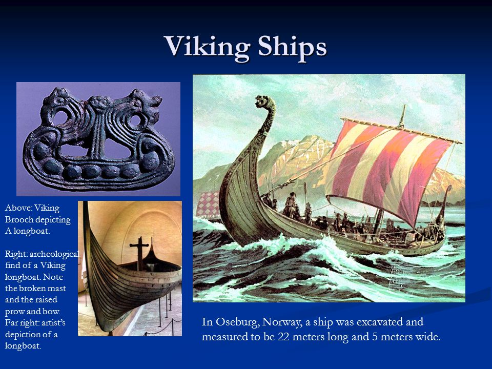 Viking Ships Above: Viking. Brooch depicting. A longboat. Right: archeological. find of a Viking.