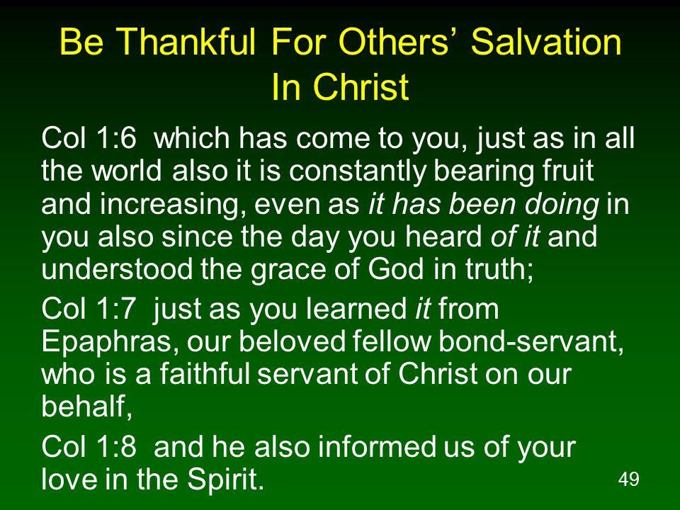 Be Thankful For Others' Salvation In Christ