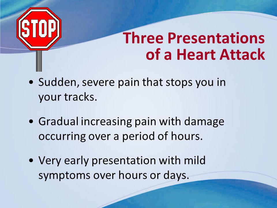 Three Presentations of a Heart Attack