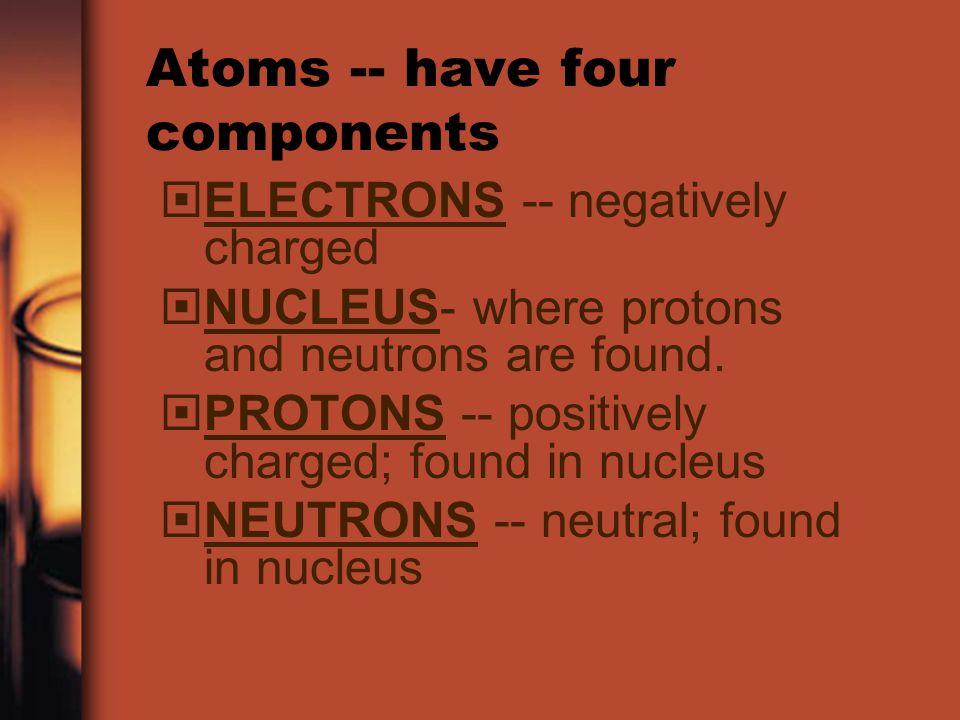 Atoms -- have four components