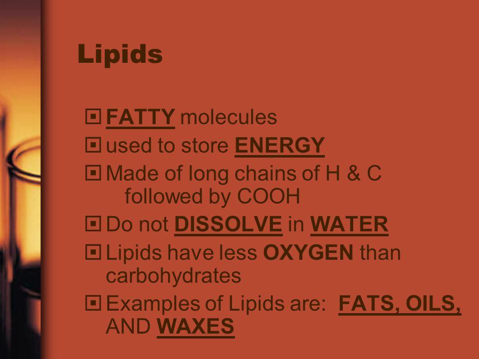 Lipids FATTY molecules used to store ENERGY