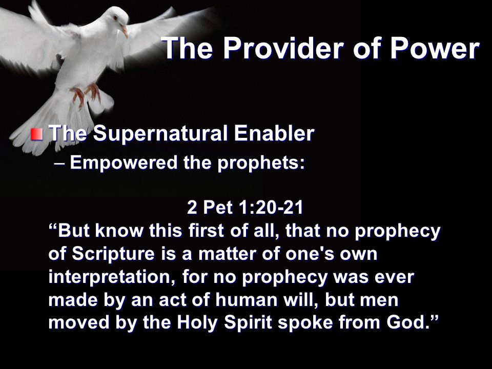 The Provider of Power The Supernatural Enabler Empowered the prophets:
