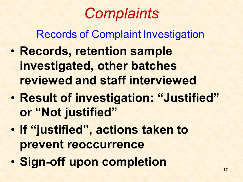 Records of Complaint Investigation