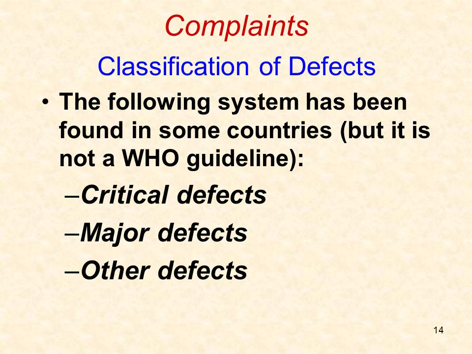 Classification of Defects