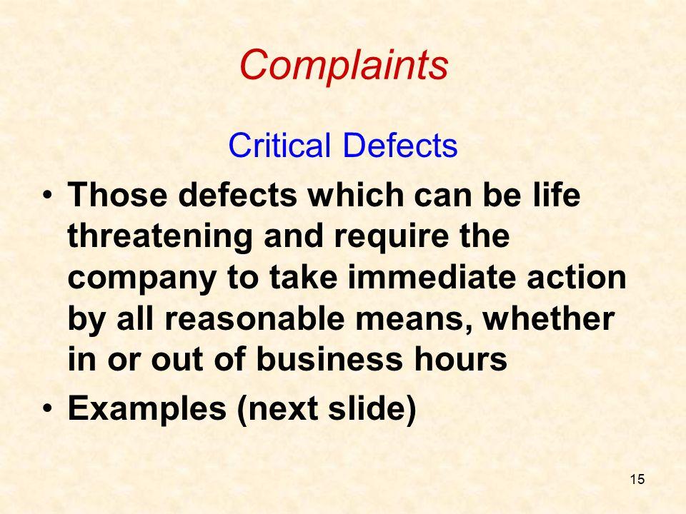 Complaints Critical Defects