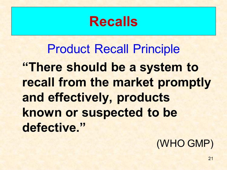 Product Recall Principle