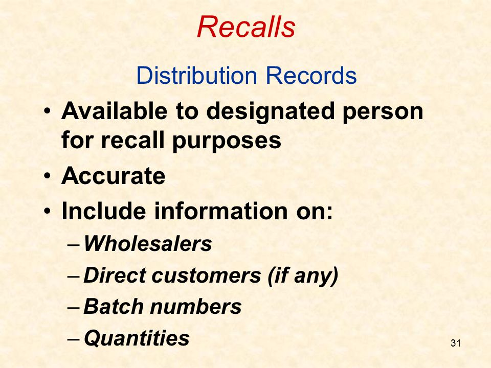Recalls Distribution Records