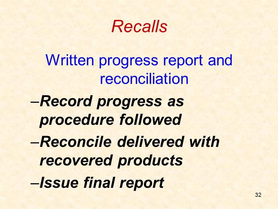 Written progress report and reconciliation