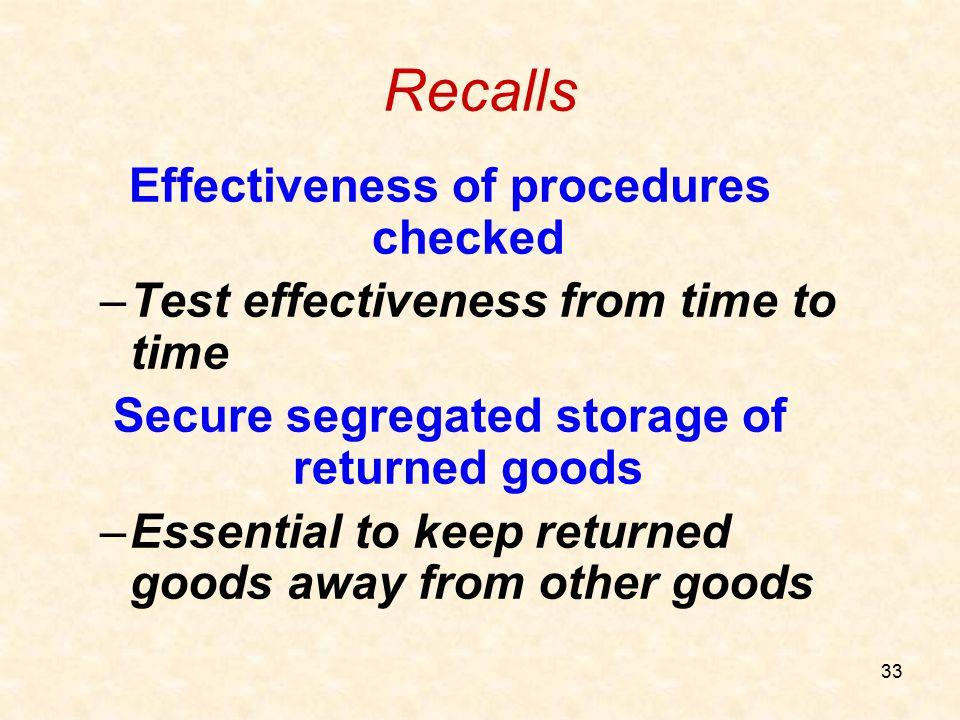 Recalls Effectiveness of procedures checked