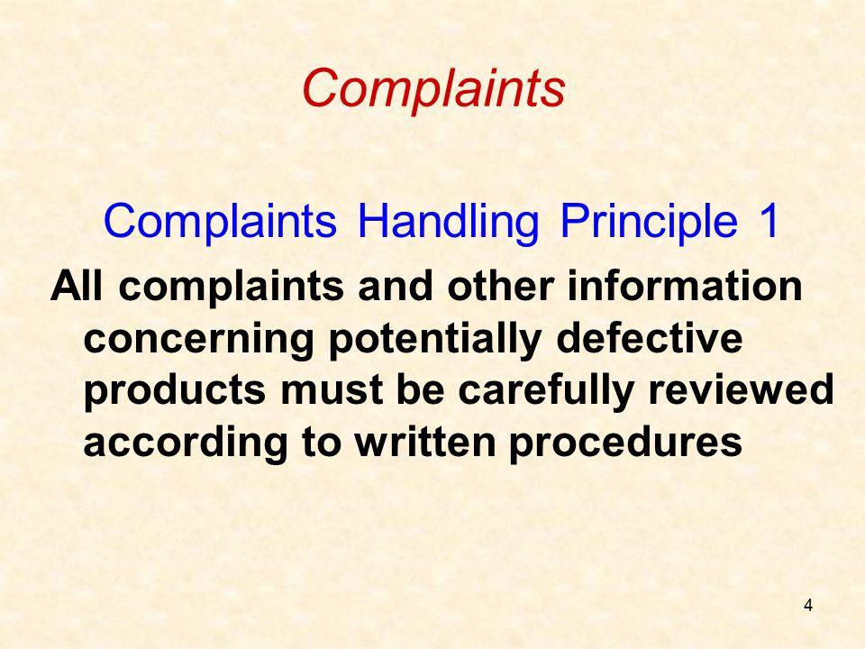 Complaints Handling Principle 1