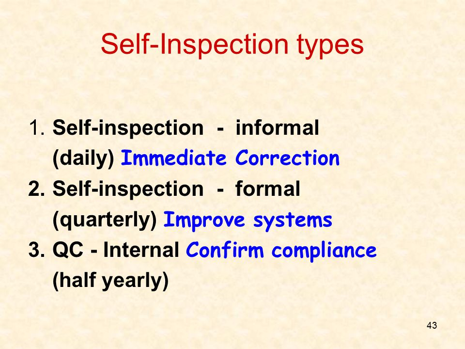 Self-Inspection types