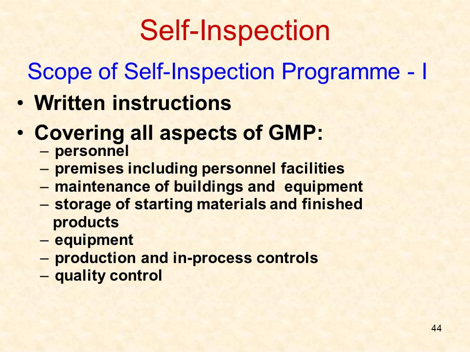 Scope of Self-Inspection Programme - I