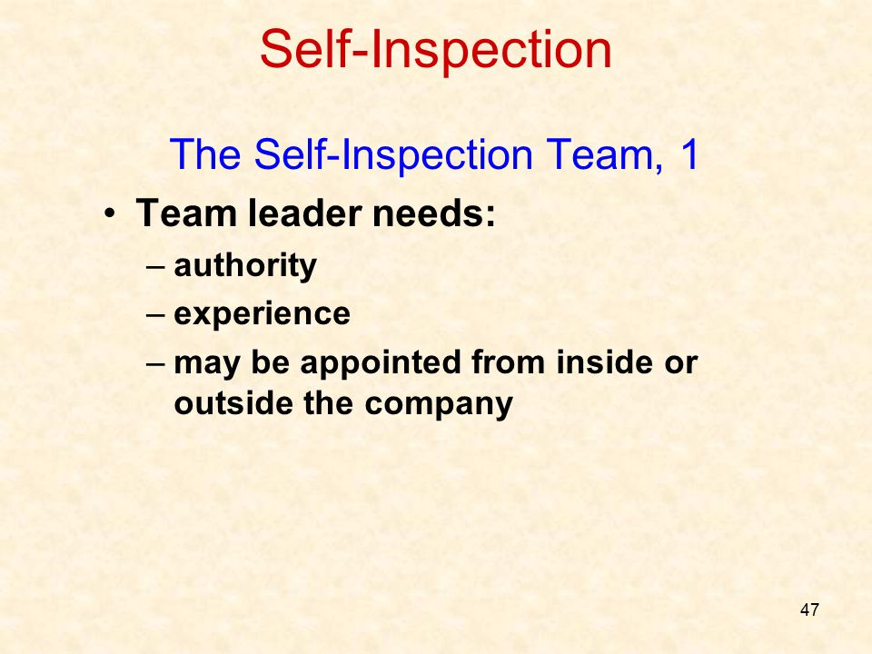 The Self-Inspection Team, 1