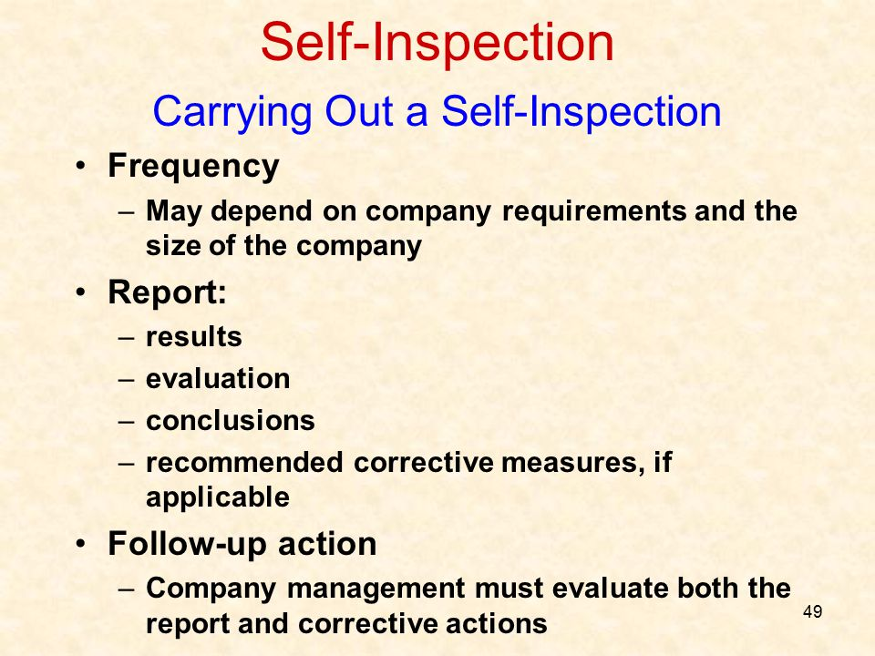 Carrying Out a Self-Inspection