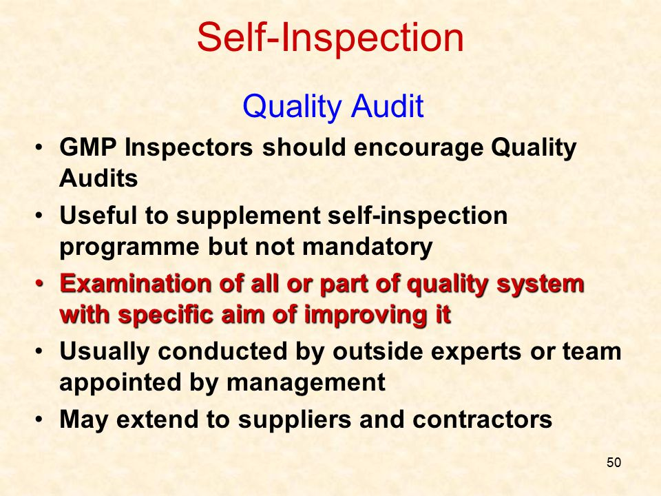 Self-Inspection Quality Audit