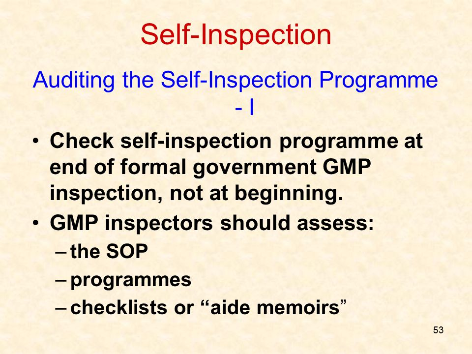 Auditing the Self-Inspection Programme - I