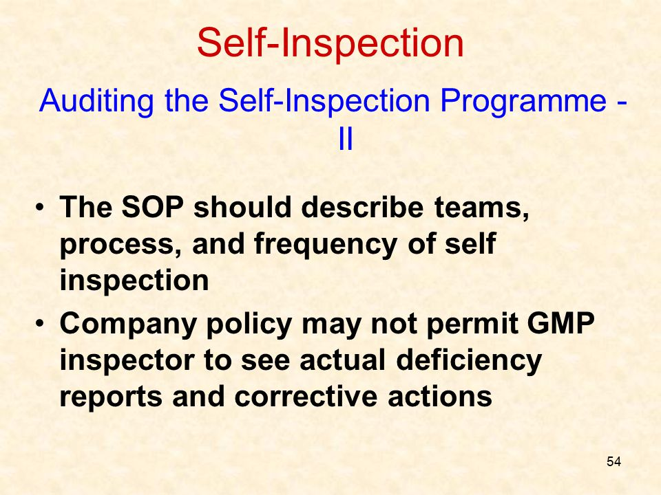 Auditing the Self-Inspection Programme - II
