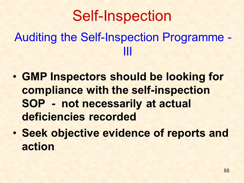 Auditing the Self-Inspection Programme - III