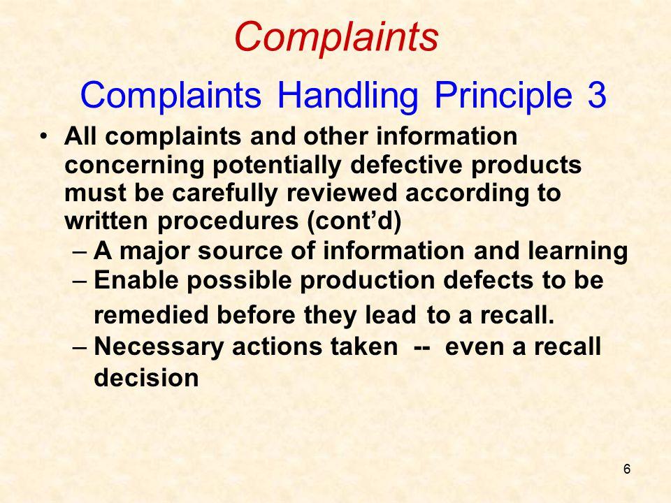 Complaints Handling Principle 3