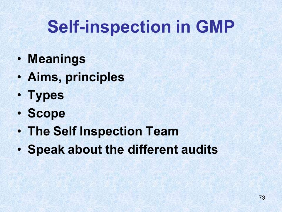 Self-inspection in GMP