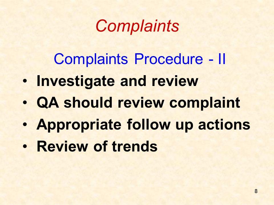 Complaints Procedure - II