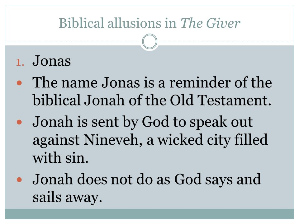 Biblical allusions in The Giver