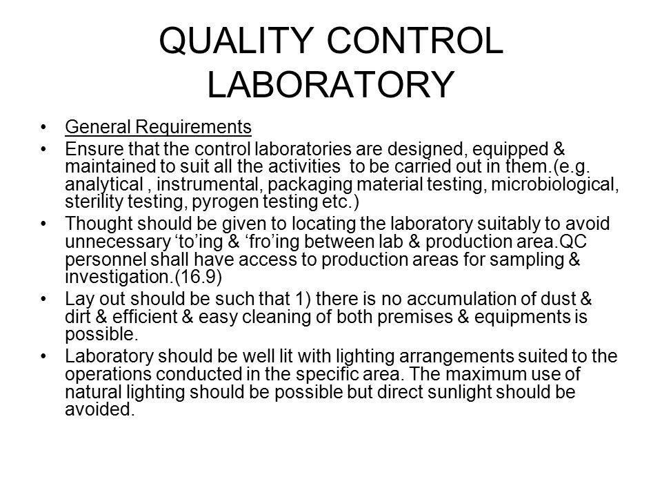 QUALITY CONTROL LABORATORY
