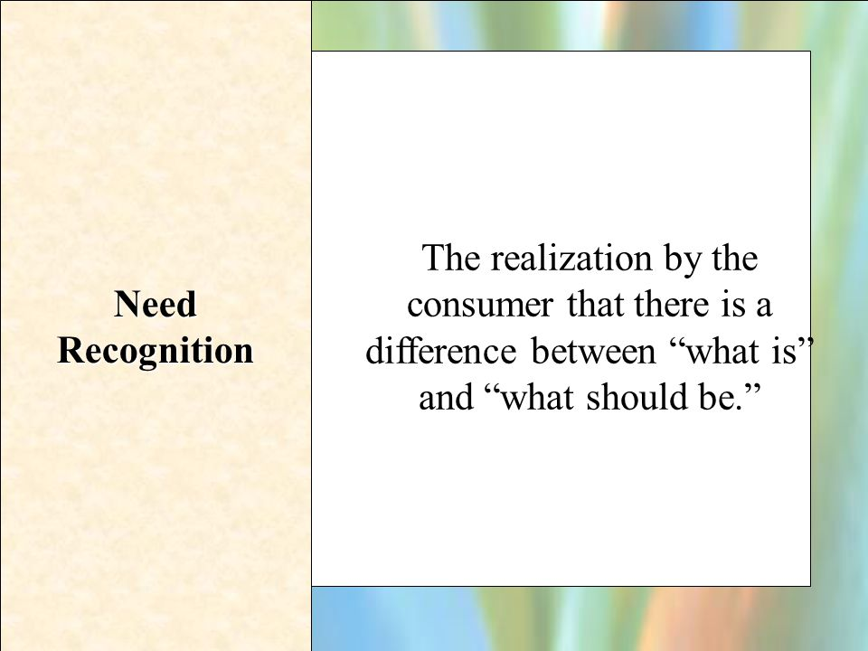 Need Recognition The realization by the consumer that there is a difference between what is and what should be.