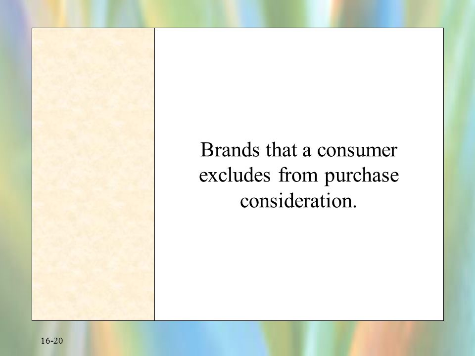 Brands that a consumer excludes from purchase consideration.