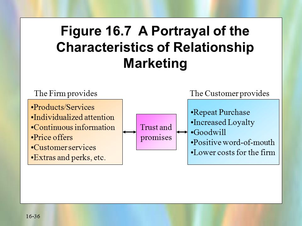 Figure 16.7 A Portrayal of the Characteristics of Relationship Marketing