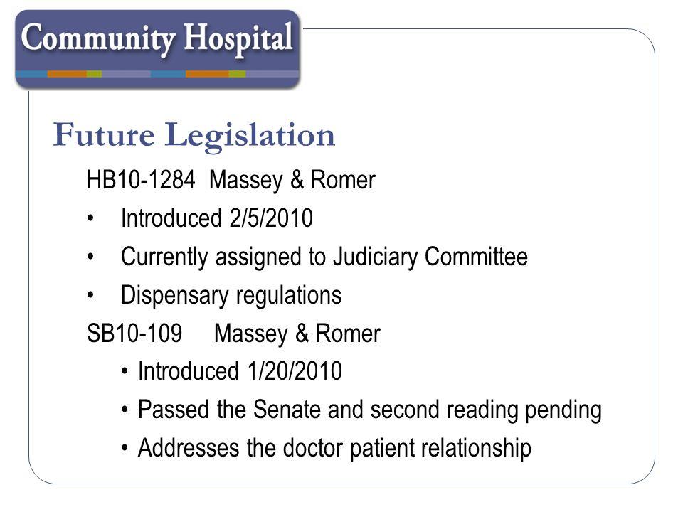 Future Legislation HB10-1284 Massey & Romer Introduced 2/5/2010