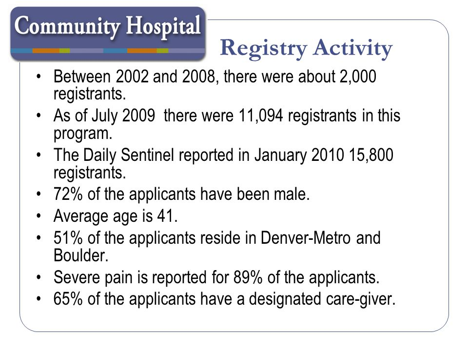 Registry Activity Between 2002 and 2008, there were about 2,000 registrants. As of July 2009 there were 11,094 registrants in this program.